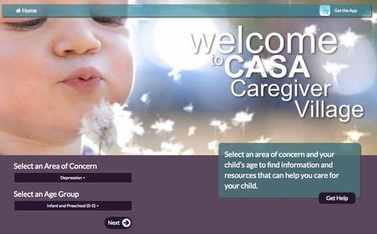 The CASA Caregiver App home page