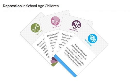 The card format to help parents on the web site