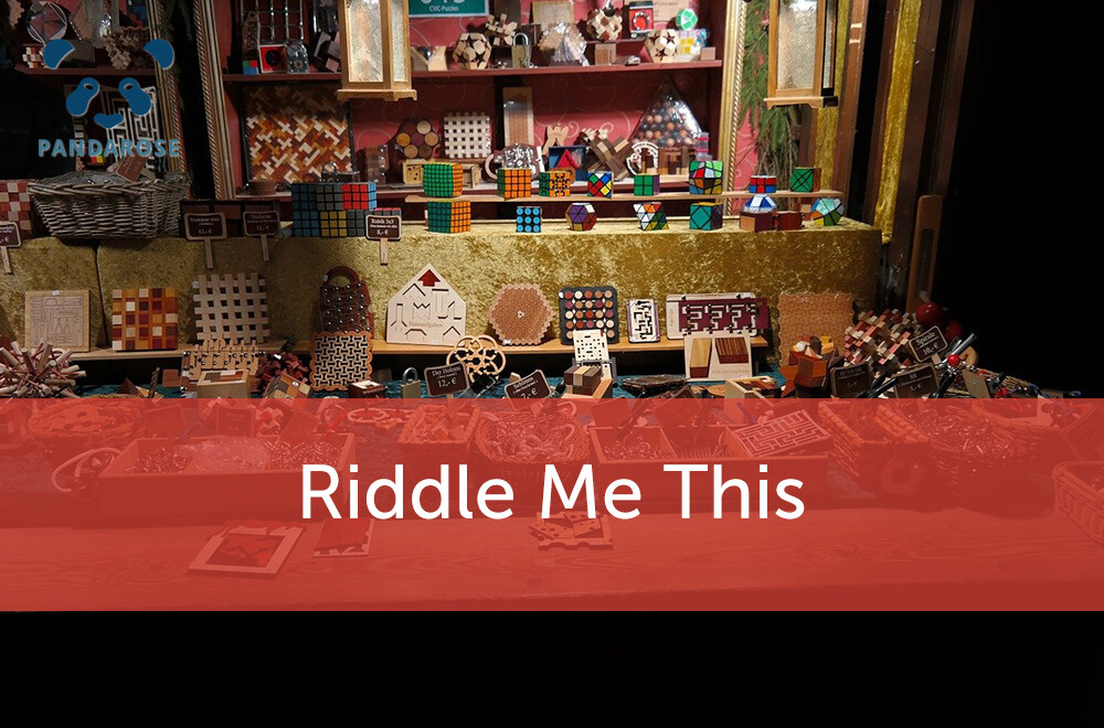 Riddle Me This; display with colourful array of puzzles & games