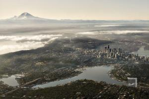 downtown seattle, lake union, mount rainier in the distance
